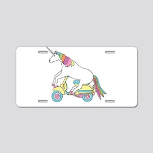 Unicorn Riding Motorscooter Aluminum License Plate