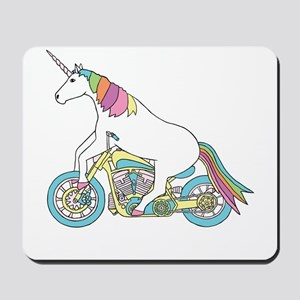 Unicorn Riding Motorcycle Mousepad