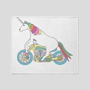 Unicorn Riding Motorcycle Throw Blanket