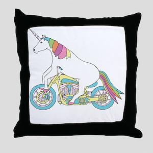 Unicorn Riding Motorcycle Throw Pillow