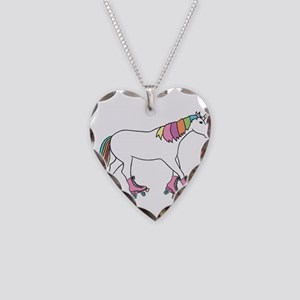 Unicorn Rollerskating Necklace Heart Charm