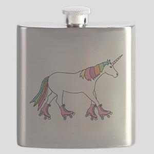 Unicorn Rollerskating Flask