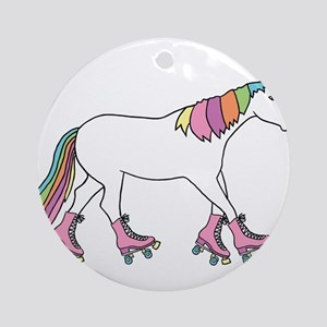 Unicorn Rollerskating Round Ornament
