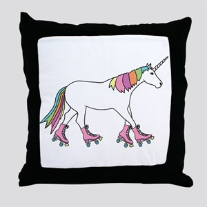 Unicorn Rollerskating Throw Pillow
