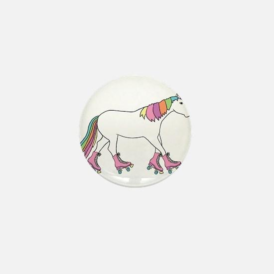 Unicorn Rollerskating Mini Button