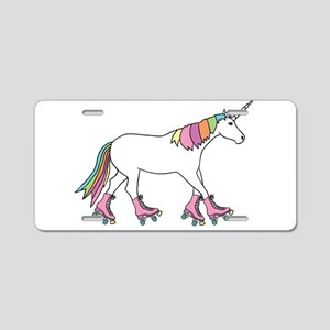 Unicorn Rollerskating Aluminum License Plate