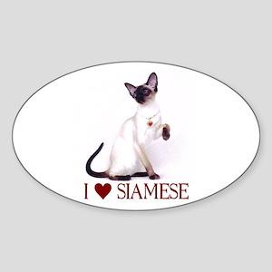 I love Siamese Oval Sticker