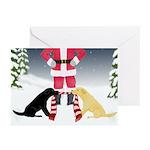 Labs Tug Santa Scarf Christmas - 10 Greeting Cards