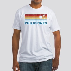 Retro Philippines Palm Tree Fitted T-Shirt