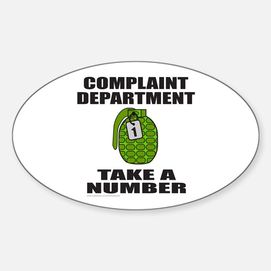 COMPLAINT DEPARTMENT Oval Decal