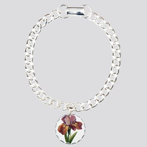 Purple Iris Flower Charm Bracelet, One Charm