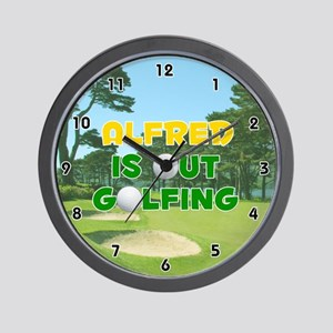 Alfred is Out Golfing (Gold) Golf Wall Clock