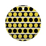 Black, white and yellow polka dots Round Ornament