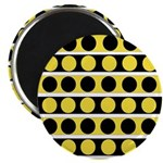 Black, white and yellow polka dots Magnets
