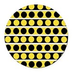 Black, white and yellow polka dots Round Car Magne