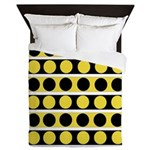 Black, white and yellow polka dots Queen Duvet