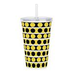 Black, white and yellow polka dots Acrylic Double-