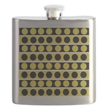 Black, white and yellow polka dots Flask