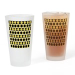 Black, white and yellow polka dots Drinking Glass