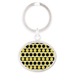 Black, white and yellow polka dots Keychains