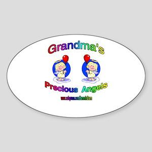 GRANDMA'S PRECIOUS GIRL ANGELS Oval Sticker