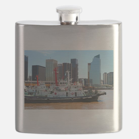 Tug boats, Buenos Aires, Argentina Flask