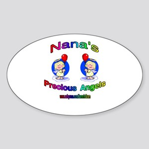 NANA'S PRECIOUS GIRL ANGELS Oval Sticker
