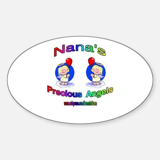 NANA'S PRECIOUS GIRL ANGELS Oval Decal
