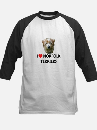 I Love Norfolk Terriers Kids Baseball Jersey