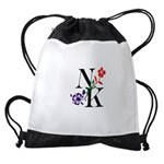 Nicki Kris Logo - Black Lettering Drawstring Bag