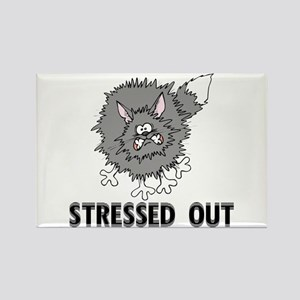 Stressed Out Cat Rectangle Magnet