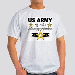 Army - My Wife is defending . Ash Grey T-Shirt
