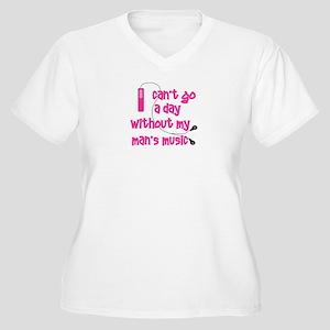 MP3 Mania Pink Women's Plus Size V-Neck T-Shirt
