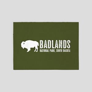 Bison: Badlands, South Dakota 5'x7'Area Rug