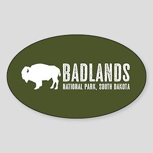 Bison: Badlands, South Dakota Sticker (Oval)
