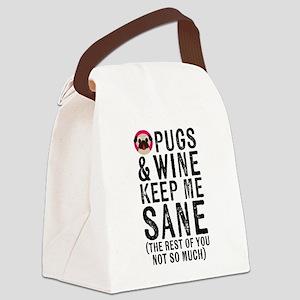 Pugs & Wine Keep Me Sane Canvas Lunch Bag