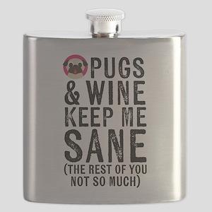 Pugs & Wine Keep Me Sane Flask