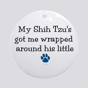 Wrapped Around His Paw (Shih Tzu) Ornament (Round)