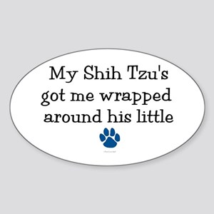 Wrapped Around His Paw (Shih Tzu) Oval Sticker