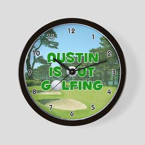Austin is Out Golfing (Green) Golf Wall Clock