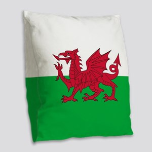 Flag of Wales Burlap Throw Pillow