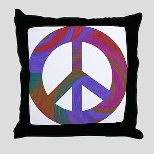 Peace Sign Swirl Throw Pillow