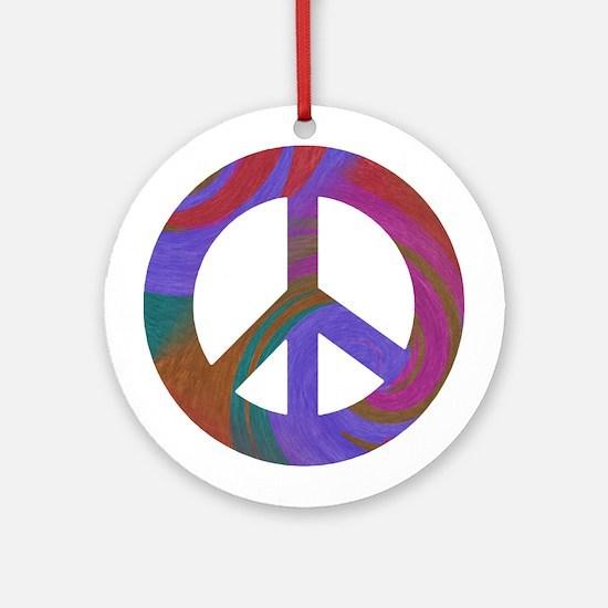 Peace Sign Swirl Ornament (Round)