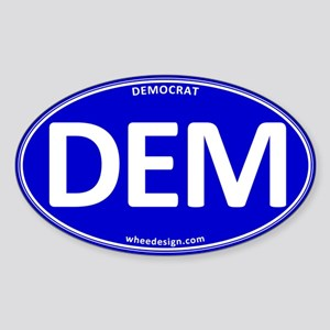 DEM - Blue Democratic Party Sticker (Oval)