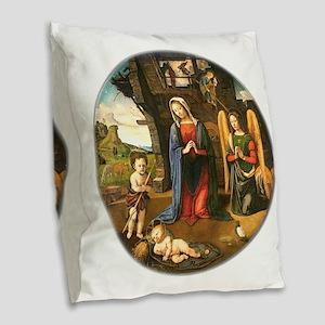 Christmas Nativity Burlap Throw Pillow