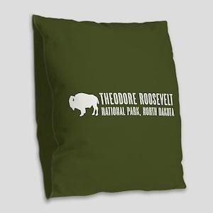 Bison: Theodore Roosevelt, Nor Burlap Throw Pillow