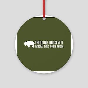 Bison: Theodore Roosevelt, North Da Round Ornament