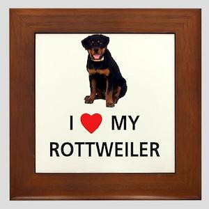 I Love My Rottweiler Framed Tile