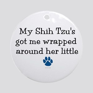 Wrapped Around Her Paw (Shih Tzu) Ornament (Round)