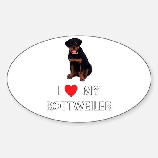 I Love My Rottweiler Oval Decal